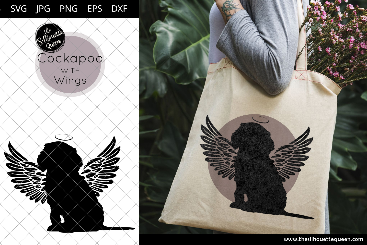 Download Free Cockapoo 10 With Wings Graphic By Thesilhouettequeenshop for Cricut Explore, Silhouette and other cutting machines.