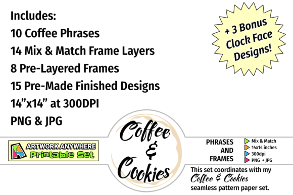 Download Free Coffee Phrases And Frames Mix Match Set Graphic By for Cricut Explore, Silhouette and other cutting machines.