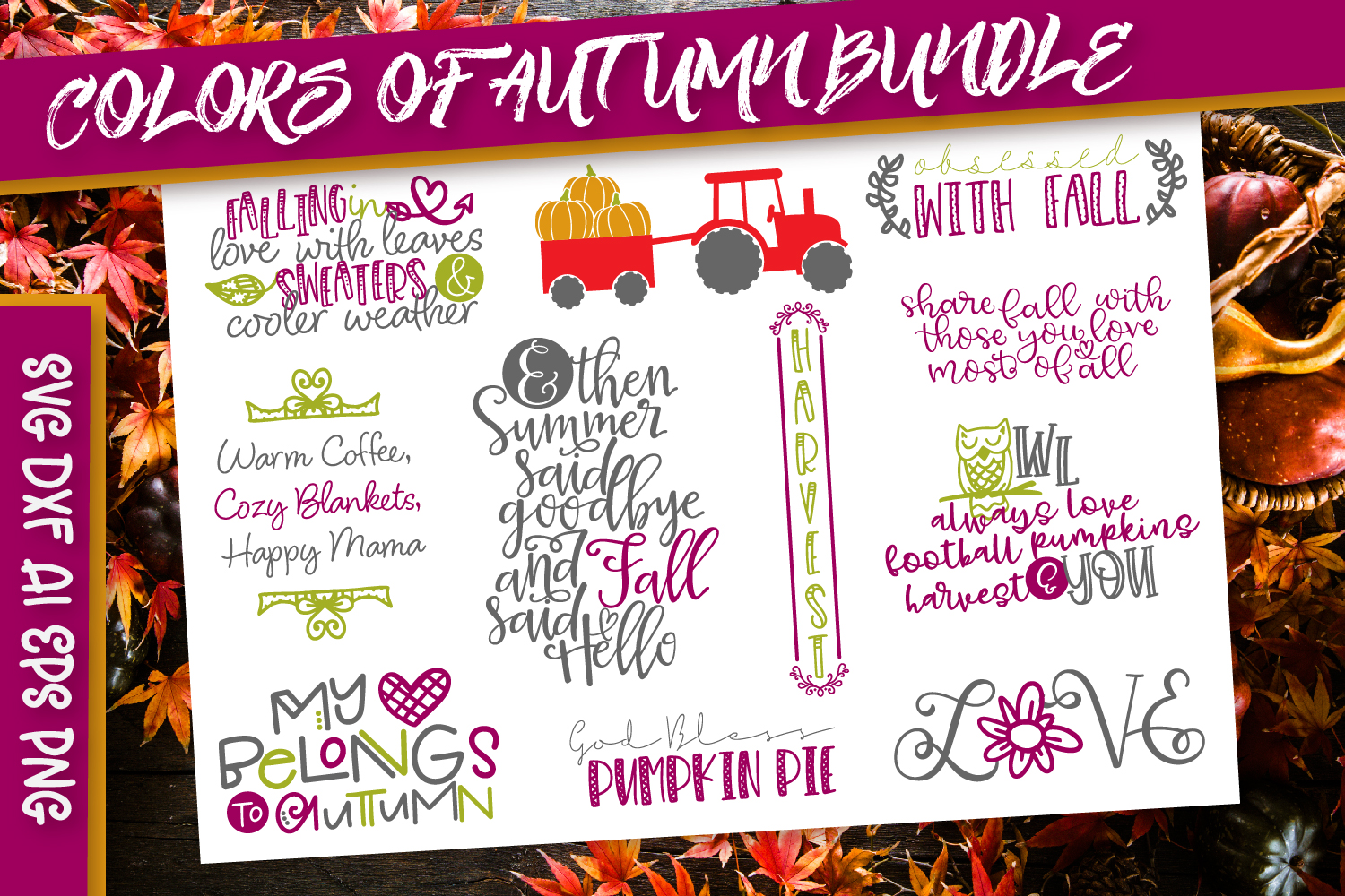 Download Free Colors Of Autumn Graphic By Justina Tracy Creative Fabrica for Cricut Explore, Silhouette and other cutting machines.