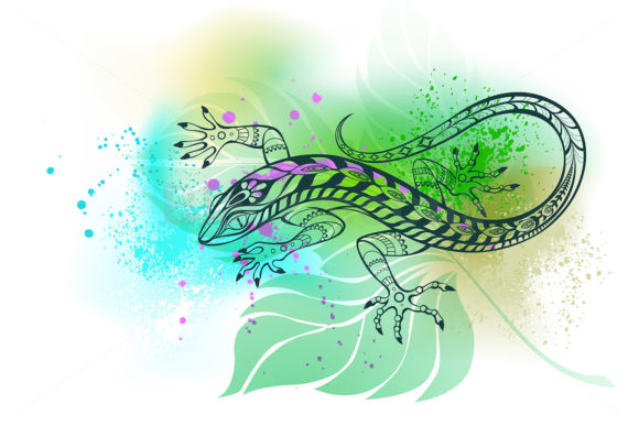 Contour Lizard on Leaf Graphic Illustrations By Blackmoon9