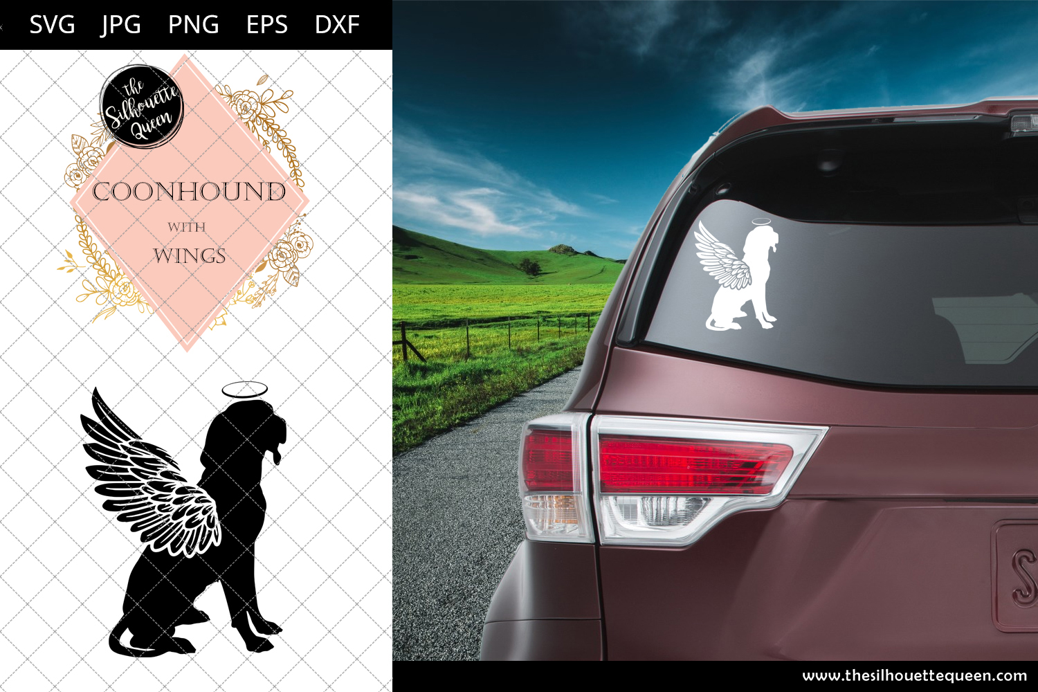 Download Free Coonhound 4 With Wings Graphic By Thesilhouettequeenshop for Cricut Explore, Silhouette and other cutting machines.
