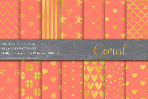 Download Free Coral Gold Digital Paper Graphic By Bonadesigns Creative Fabrica for Cricut Explore, Silhouette and other cutting machines.