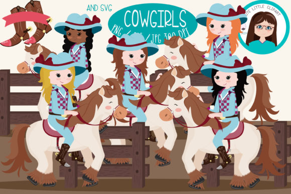 Download Free Cowgirls Clipart Bundle Graphic By Cutelittleclipart Creative for Cricut Explore, Silhouette and other cutting machines.