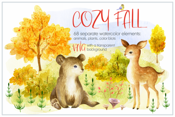 Cozy Fall. Watercolor Animals and Plants Graphic By Olga Belova Image 1