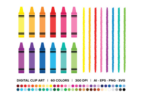 Crayon & Border Clip Art Set Graphic By Running With Foxes Image 1