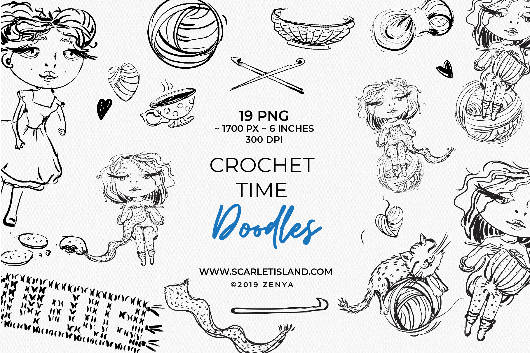 Download Free Crochet Time Doodles Graphic By Ramandu Creative Fabrica for Cricut Explore, Silhouette and other cutting machines.