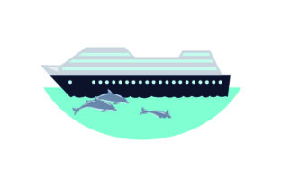Cruise Ship with Dolphins Swimming Next to It Craft Design By Creative Fabrica Crafts