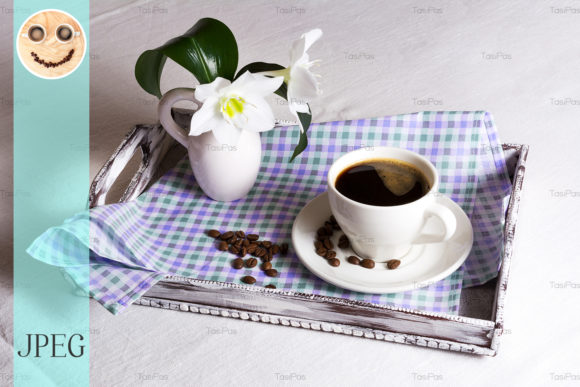 Print on Demand: Cup of Morning Coffee with White Flowers Graphic Food & Drinks By TasiPas