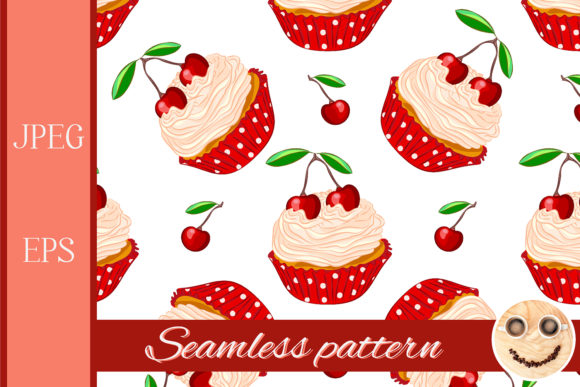 Print on Demand: Cupcakes Seamless Patterns. Graphic Patterns By TasiPas