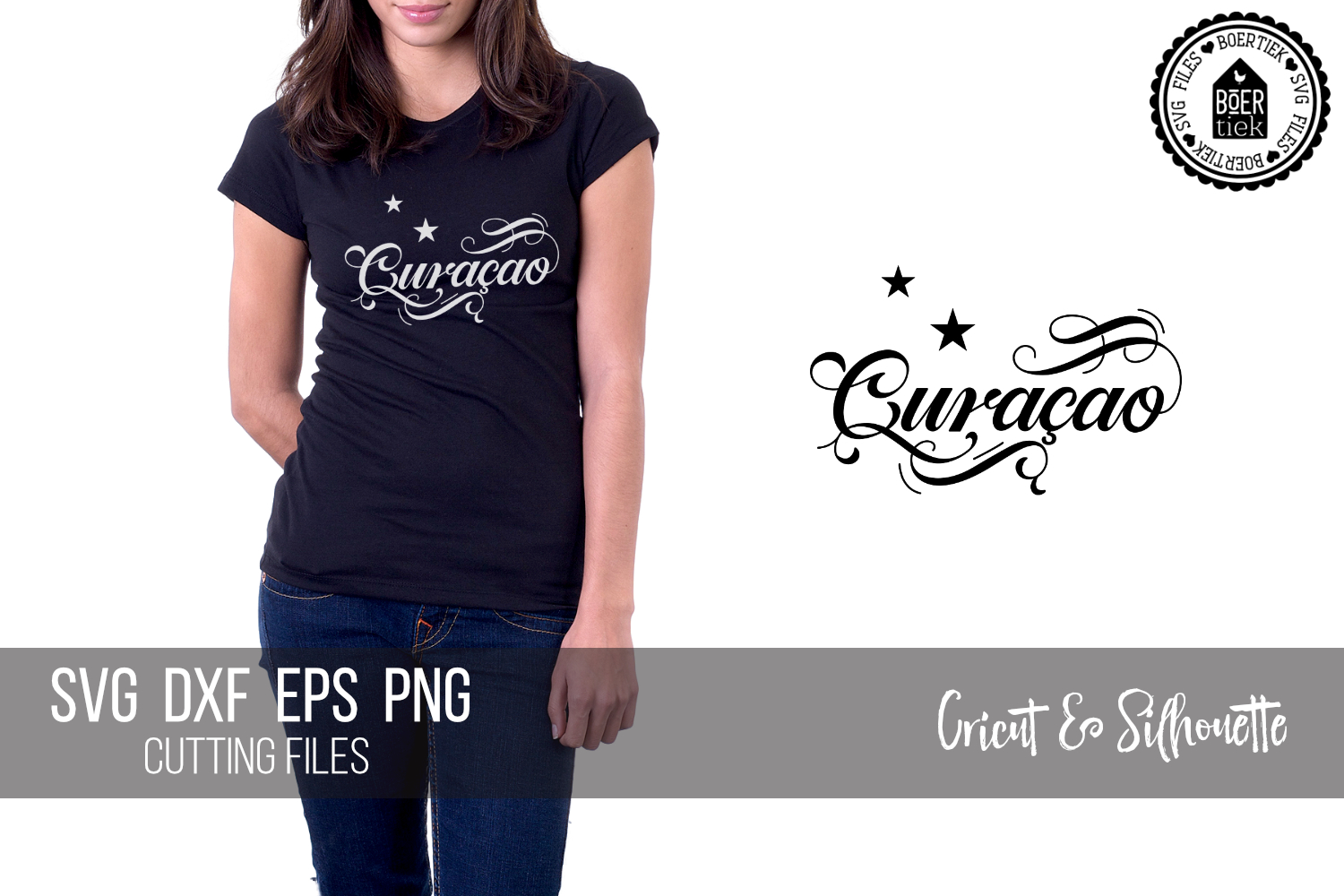 Download Free Curacao With Stars Of The Flag Graphic By Boertiek Creative for Cricut Explore, Silhouette and other cutting machines.