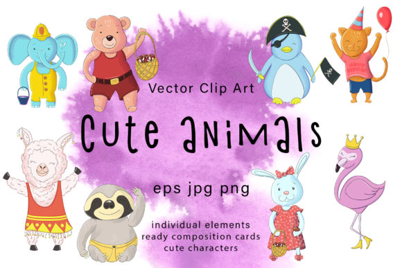 Print on Demand: Cute Animals Vector Clip Art Graphic Illustrations By Gennadii ART