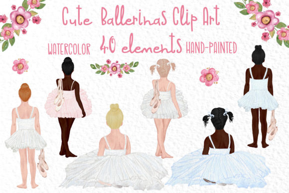Cute Ballerina Clipart, Ballet Dance Graphic Illustrations By vivastarkids