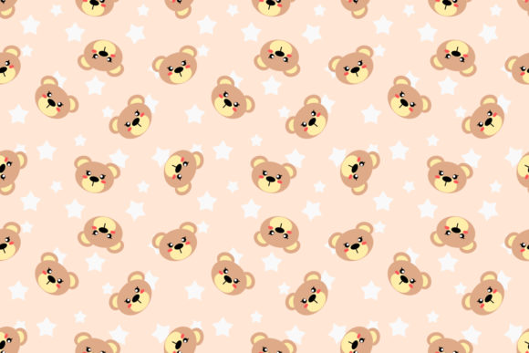 Cute Bear Head Seamless Pattern (Graphic) by thanaporn.pinp · Creative  Fabrica