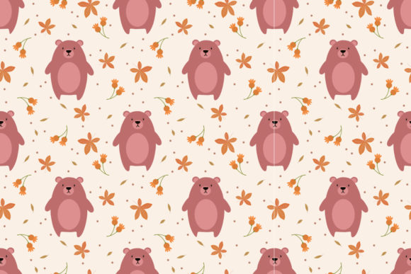 Cute Bear and Autumn Leaves Graphic Patterns By thanaporn.pinp