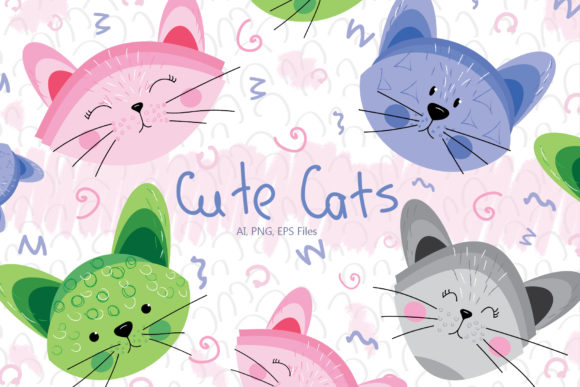 Print on Demand: Cute Cats and Patterns Graphic Illustrations By tanatadesign