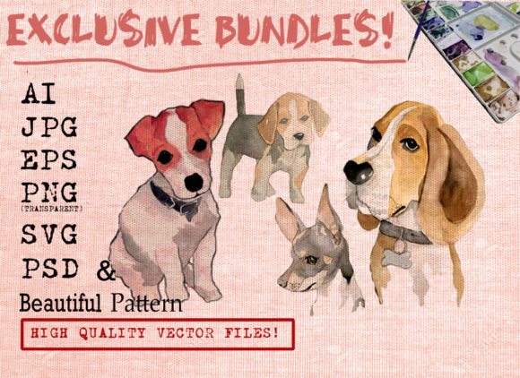 Cute Dog Bundles Graphic Illustrations By Ambar Art