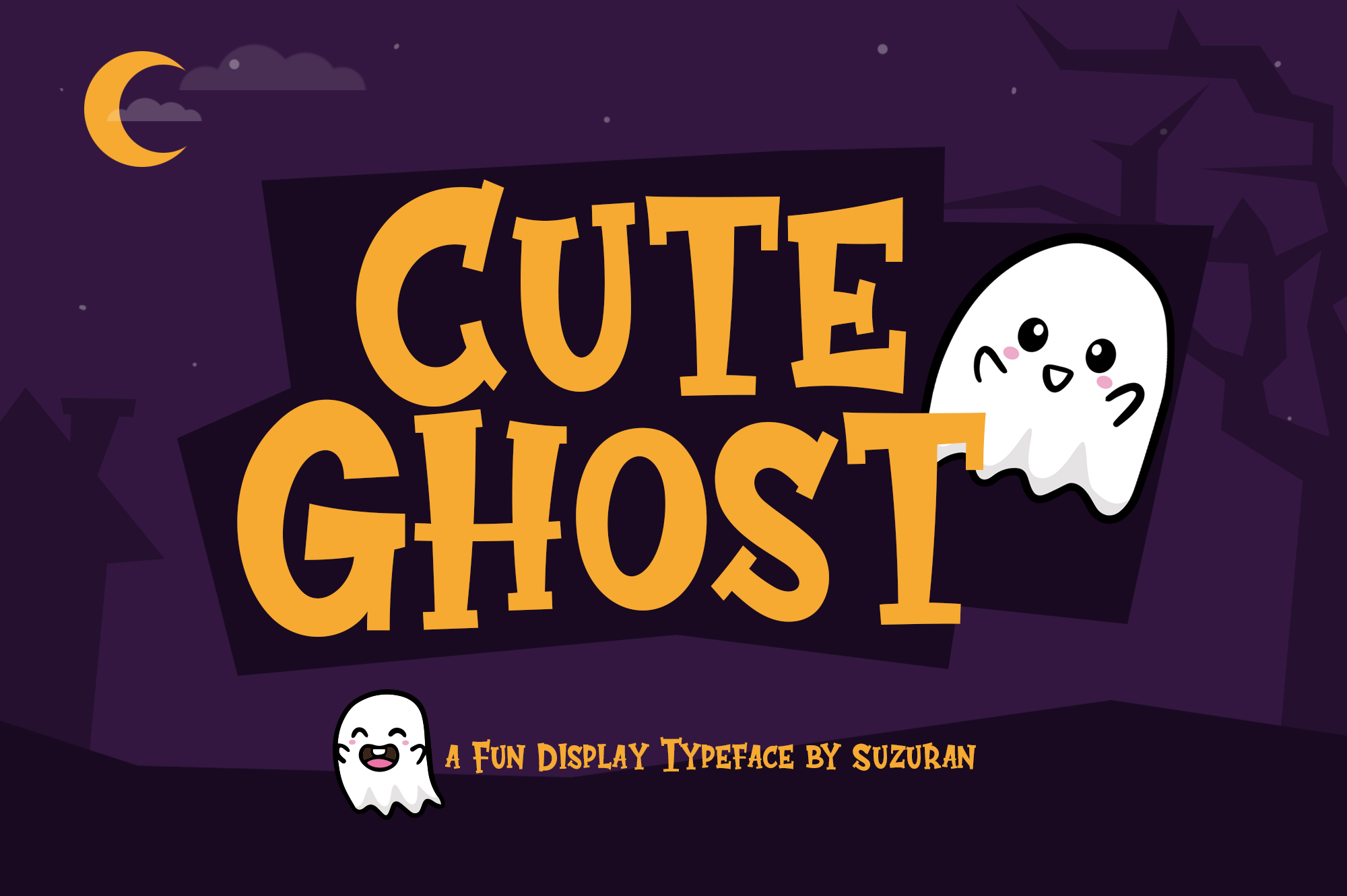 Download Free Cute Ghost Font By Suzurantype Creative Fabrica for Cricut Explore, Silhouette and other cutting machines.