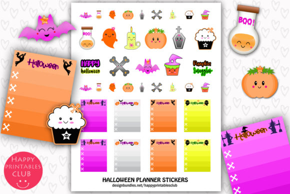 Print on Demand: Cute Halloween Planner Stickers Graphic Crafts By Happy Printables Club
