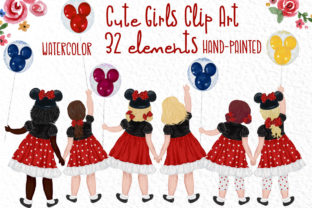 Cute Little Girls Besties Clipart Graphic Illustrations By vivastarkids