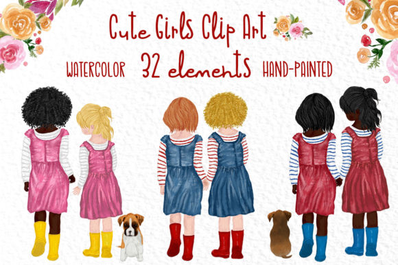 Cute Little Girls Clipart, Besties Girls Graphic Illustrations By vivastarkids