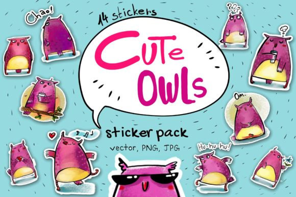 Print on Demand: Cute Owls - Sticker Pack Graphic Illustrations By Zooza Art