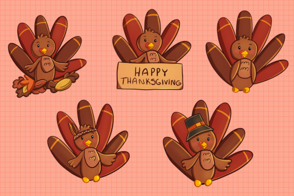 Print on Demand: Cute Turkeys Clip Art Collection Graphic Illustrations By Keepinitkawaiidesign - Image 2