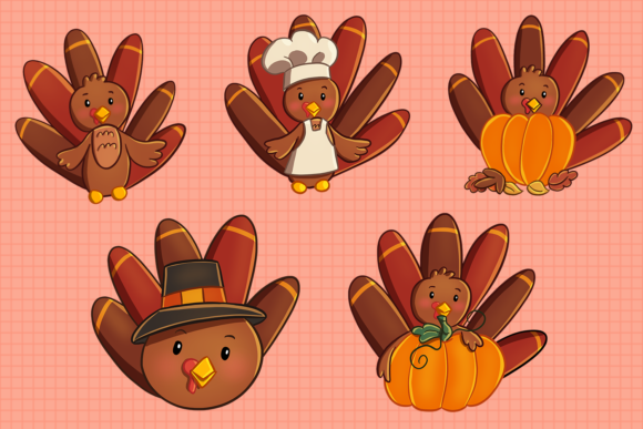 Print on Demand: Cute Turkeys Clip Art Collection Graphic Illustrations By Keepinitkawaiidesign - Image 3