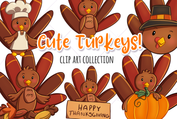 Download Free Cute Turkeys Clip Art Collection Graphic By Keepinitkawaiidesign for Cricut Explore, Silhouette and other cutting machines.