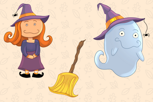 Cute Witches and Ghosts Clip Art