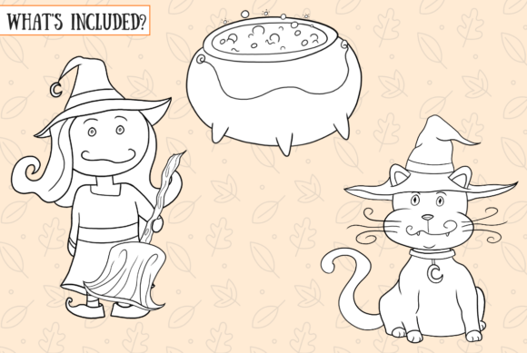 Cute Witches and Ghosts Digital Stamps