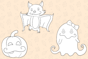 Print on Demand: Cute Witches and Ghosts Digital Stamps Graphic Illustrations By Keepinitkawaiidesign 3