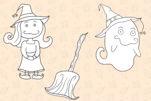 Print on Demand: Cute Witches and Ghosts Digital Stamps Graphic Illustrations By Keepinitkawaiidesign 4