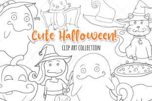 Print on Demand: Cute Witches and Ghosts Digital Stamps Graphic Illustrations By Keepinitkawaiidesign 1