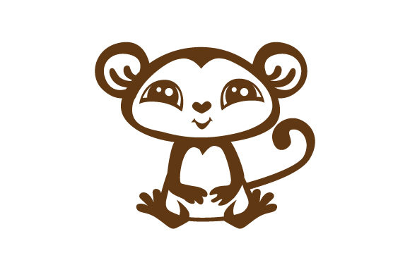 Download Free Cute Brown And White Monkey With Big Eyes Svg Cut File By for Cricut Explore, Silhouette and other cutting machines.
