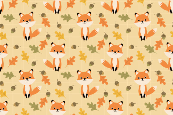 Cute Fox And Autumn Leaves Graphic By Thanaporn Pinp Creative Fabrica