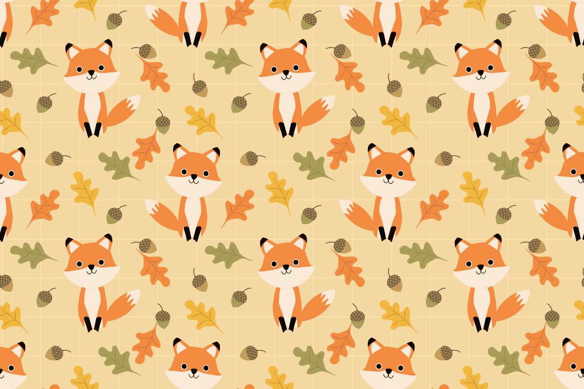 Cute Fox And Autumn Leaves