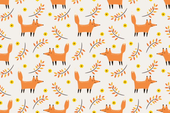 Download Free Cute Fox In Autumn Seamless Pattern Graphic By Thanaporn Pinp for Cricut Explore, Silhouette and other cutting machines.