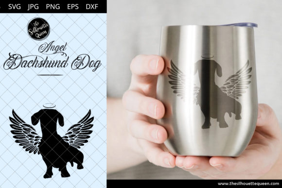 Download Free Dachshund Dog 1 With Wings Graphic By Thesilhouettequeenshop for Cricut Explore, Silhouette and other cutting machines.