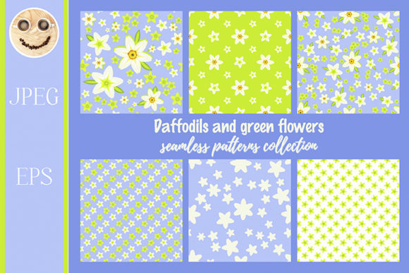 Print on Demand: Daffodils on the Blue Seamless Pattern Graphic Patterns By TasiPas