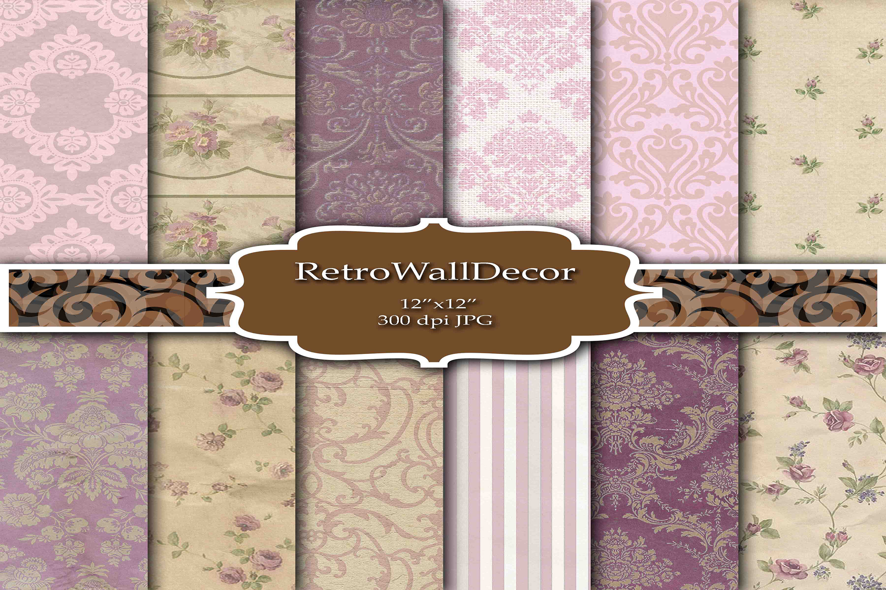 Download Free Damask Digital Paper Graphic By Retrowalldecor Creative Fabrica SVG Cut Files