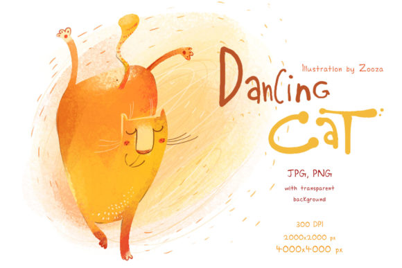 Print on Demand: Dancing Cat - Illustration Graphic Illustrations By Zooza Art