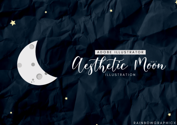 Print on Demand: Dark Aesthetic Half Moon Graphic Illustrations By RainbowGraphicx