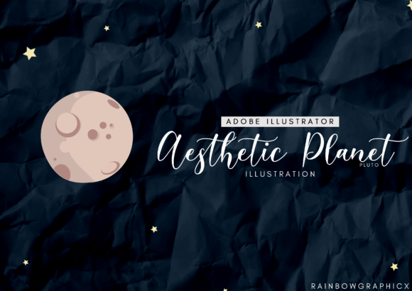 Print on Demand: Dark Aesthetic Planet Pluto Graphic Illustrations By RainbowGraphicx