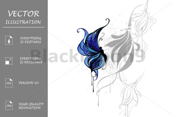Dark Blue Butterfly Graphic Illustrations By Blackmoon9