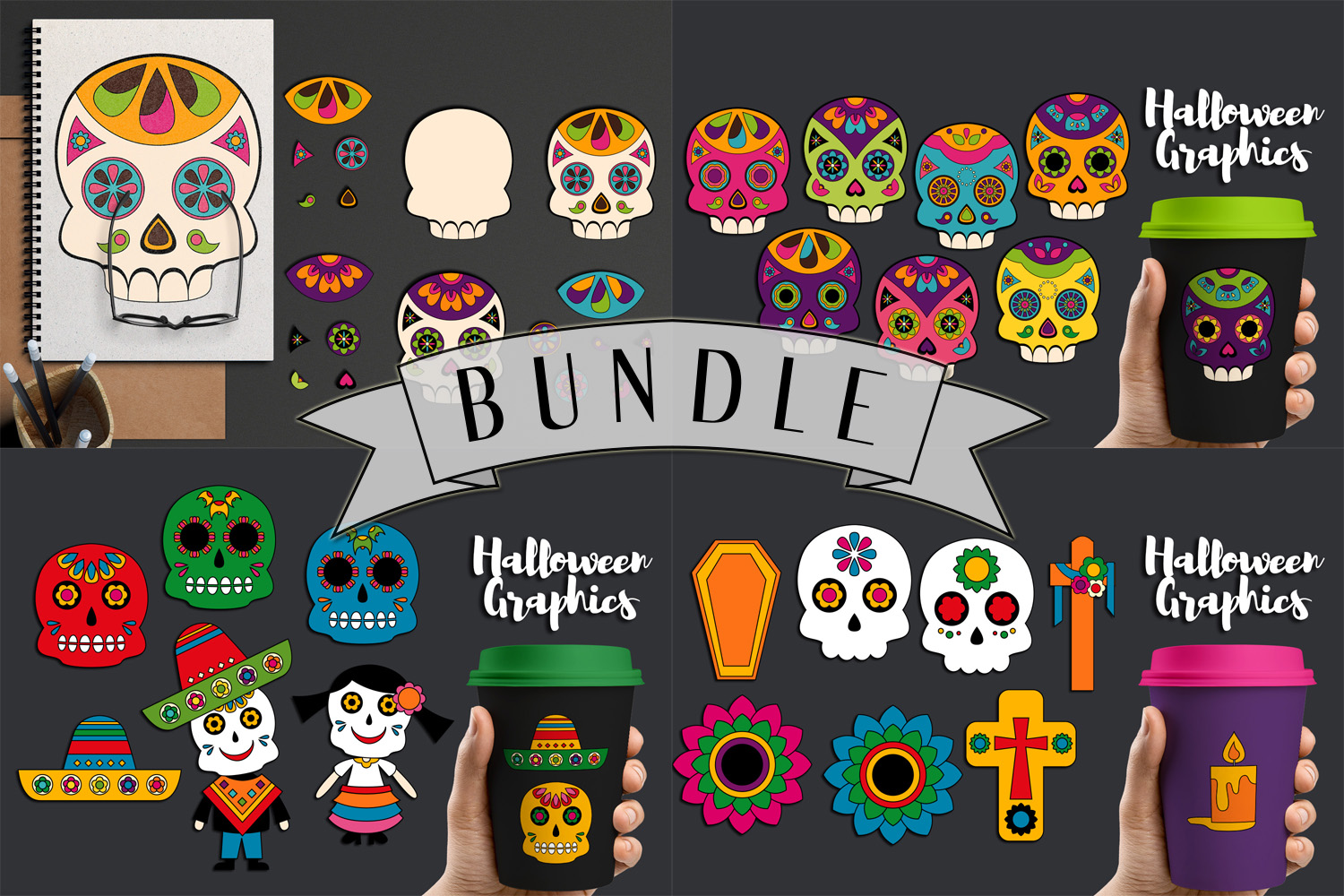 Download Free Day Of The Dead Bundle Graphic By Darrakadisha Creative Fabrica for Cricut Explore, Silhouette and other cutting machines.