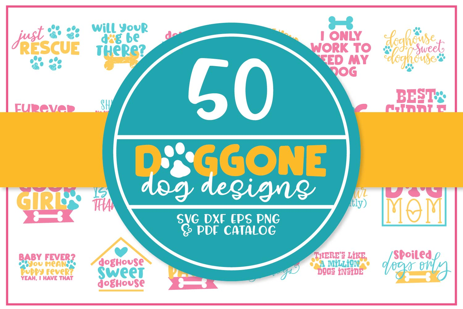 Download Free Doggone Mega Bundle Graphic By Justina Tracy Creative Fabrica for Cricut Explore, Silhouette and other cutting machines.