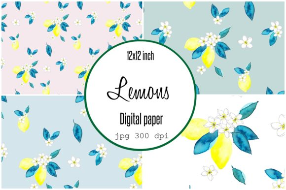 Print on Demand: Digital Paper Watercolor Lemons Graphic Patterns By Anines Atelier