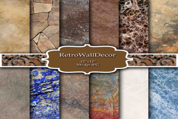 Print on Demand: Digital Paper Graphic Backgrounds By retrowalldecor - Image 1