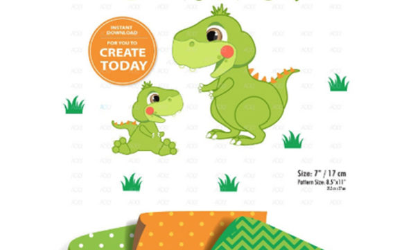 Print on Demand: Dinosaur Clipart,baby Dinasour Limegreen Graphic Illustrations By adlydigital - Image 2