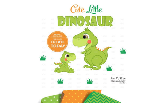 Print on Demand: Dinosaur Clipart,baby Dinasour Limegreen Graphic Illustrations By adlydigital - Image 1